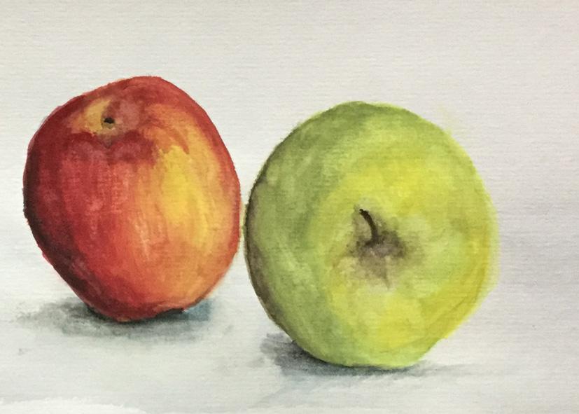 Mittsommernacht - Kreativa auch im Sommer mit Stift, Papier und Aquarellfarben. Male was immer sich vor Deinen Augen auf tut, wie z. B. ein Stillleben aus zwei Äpfeln.