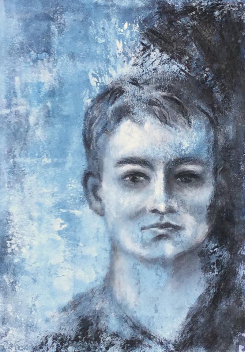 Acryl und Kohle, eine wahnsinns Kombination - Portrait  gemalt von Daniela Rogall