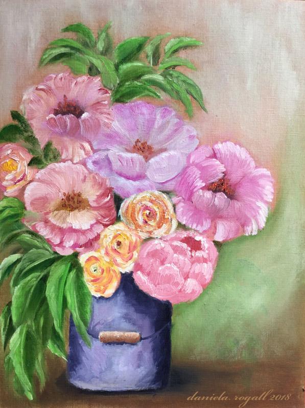Malen mit Ölfarben - Ein Strauß Blumen ala prima