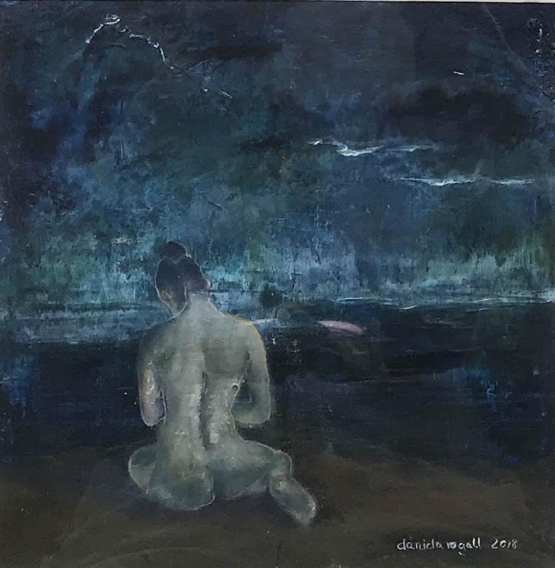 Sinnen - © Daniela Rogall / 30 x 30 cm / Coldwax, Öl, Pastell auf Fine Art Malkarton