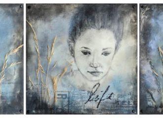 © Daniela Rogall / Encaustic-Serie / 20 x 20 cm / Wachs/Papier/Gräser/Pastell/Kohle/Öl auf Papier