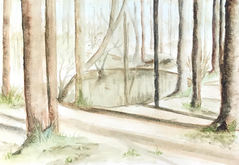 Landschaft, sonnige Parkszene - Aquarell - Daniela Rogall