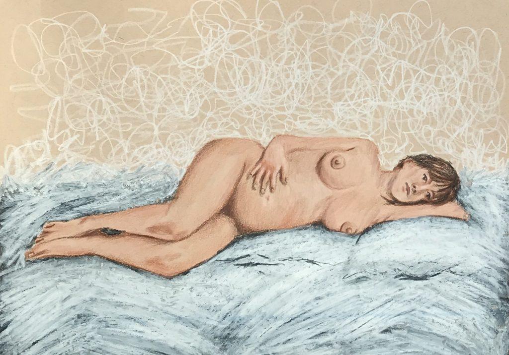 Akt - Hineinhorchen - Malen mit Prismacolor - Daniela Rogall