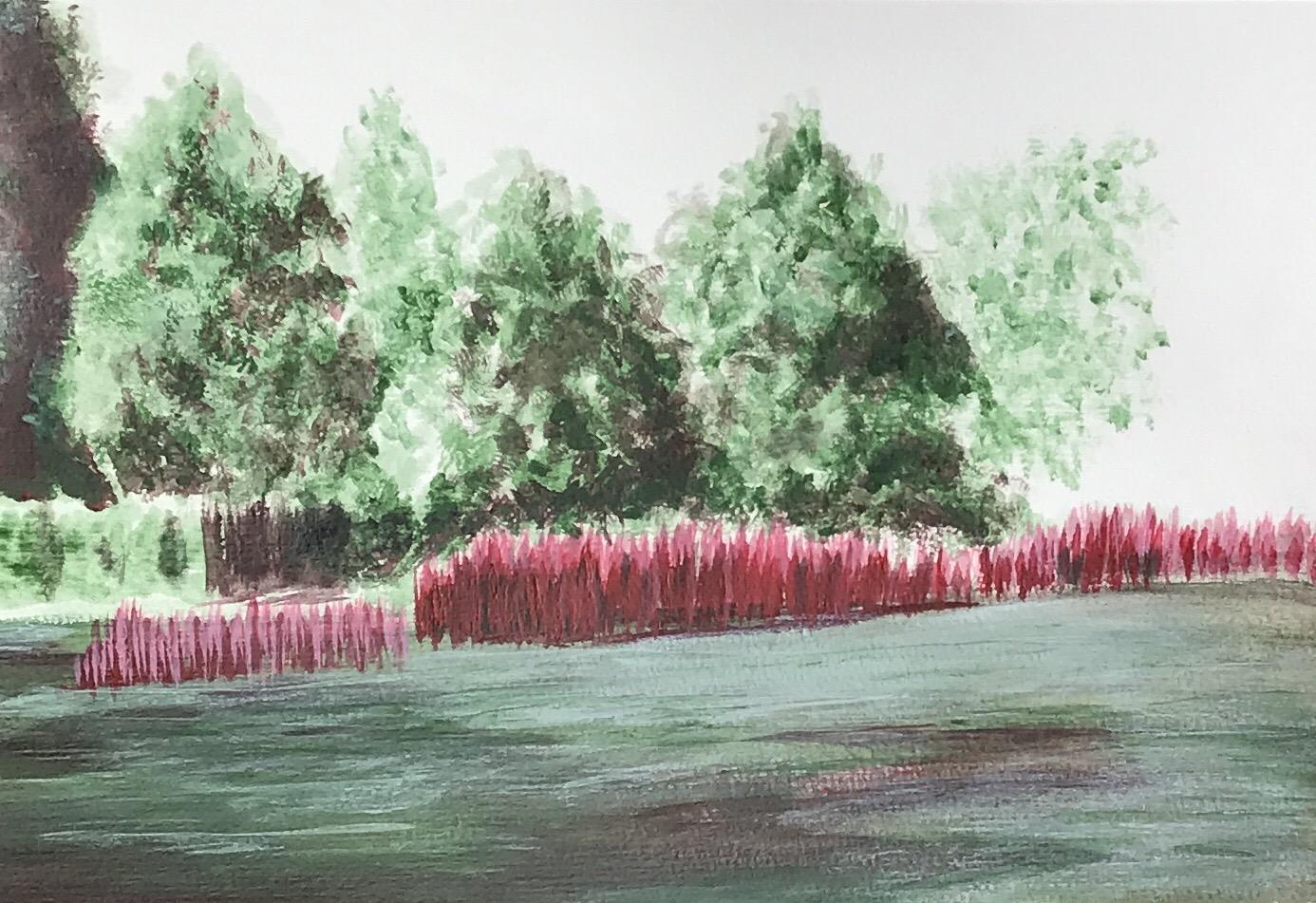 Landschaft - Acryl, zweifarbig, rot/grün  - Daniela Rogall