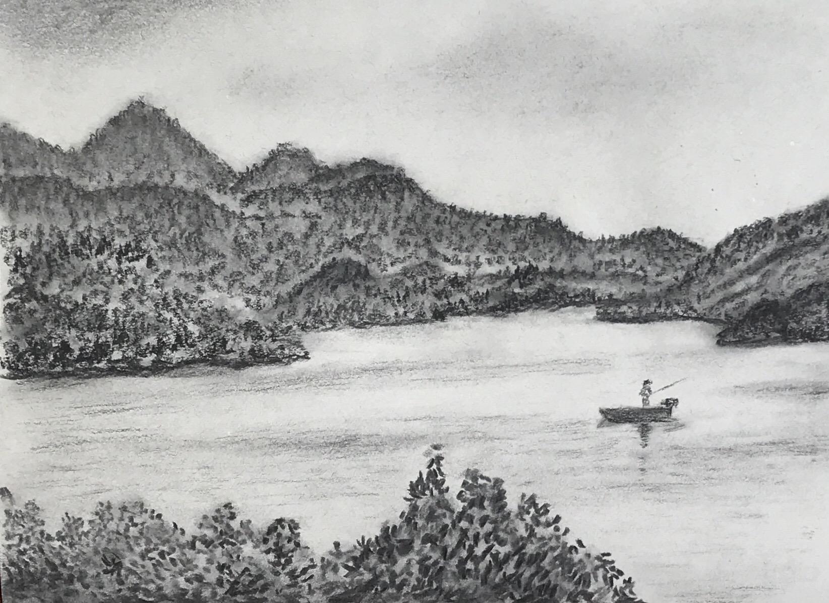 Landschaft - Kohlezeichnung - Daniela Rogall