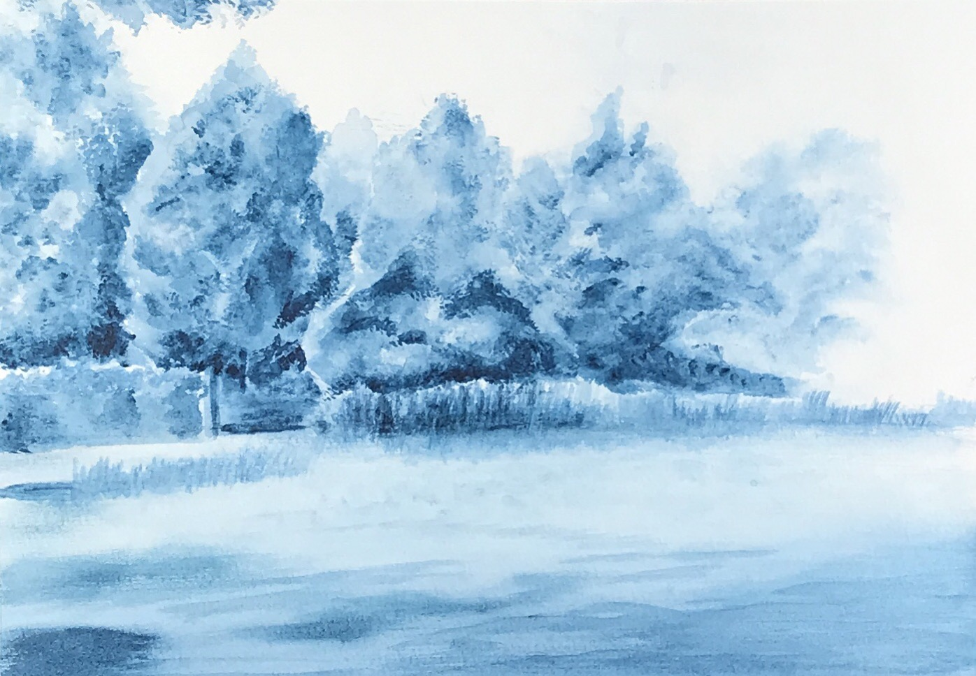 Landschaft - Acryl im Aquarell-Stil - Daniela Rogall