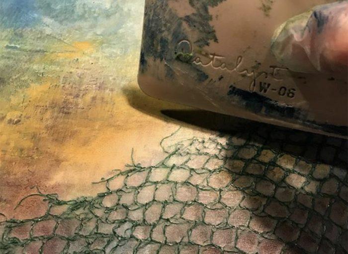 Cold Wax auftragen, Ölfarbe und Wachs - Daniela Rogall