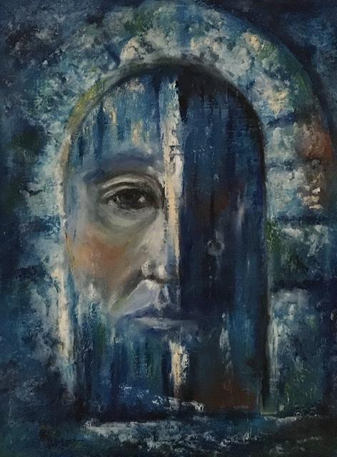 Klopf, klopf - coldwax painting (Kaltwachsmalerei), Ölmalerei - Daniela Rogall