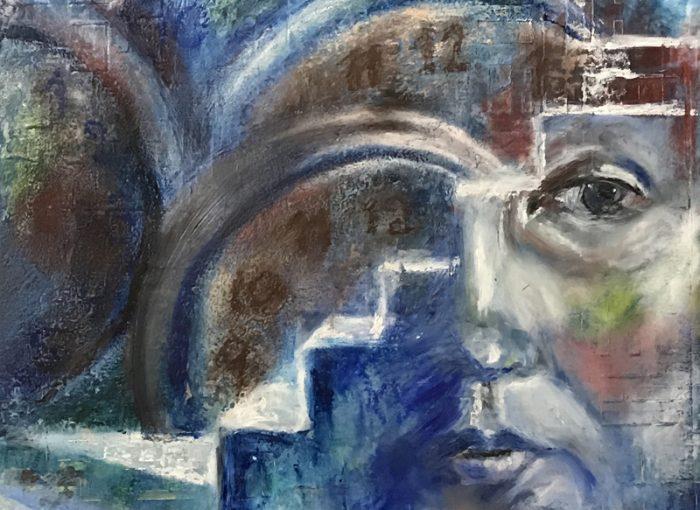 Zeit neue Wege zu beschreiten, coldwax painting (Kaltwachsmalerei), Ölmalerei - Daniela Rogall