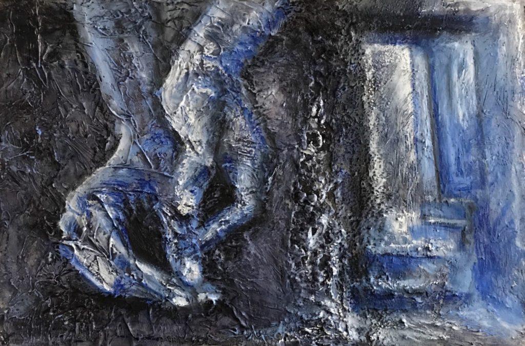 Tasten, fühlen - Wahrnehmung - Kaltwachsmelerei, Wachs und Öl - Ampersand Board 40x60 cm - Daniela Rogall